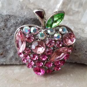 Jewelry - Sparkling Apple Rhinestones Brooch
